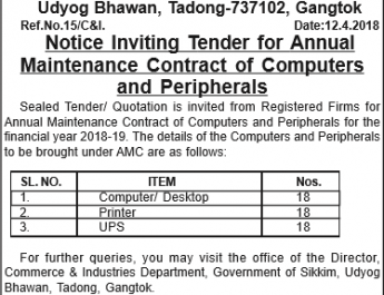 Commerce and Industries Department Udyog Bhawan: Notice Inviting Tender for Annual Maintenance Contract of Computers and Peripherals