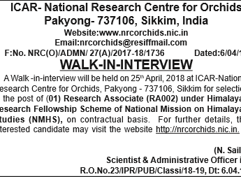 WALK-IN-INTERVIEW :  Research Associate (RA002)