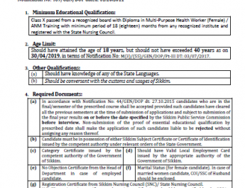 Advertisement For The Post Of Multi Purpose Health Worker (Female) Under Health Care & Human Services Deptartment. (ADV. NO. 09/SPSC/EXAM/2019, DT: 02/05/2019).