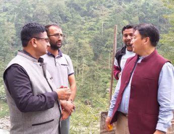Hon'ble Ministers Shri. Samdup Lepcha & Shri. Lok Nath Sharma inspected the work of black topping at Reshi Legship highway