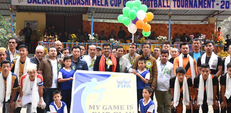 Hon'ble Minister L.N Sharma attends the Balachaturdashi Mela Cup Open Football Tournament 2019
