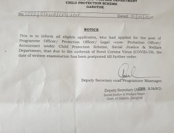 NOTICE FROM SOCIAL JUSTICE & WELFARE DEPARTMENT