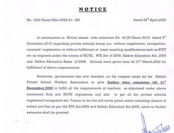 Notice From Education Department, Government of Sikkim